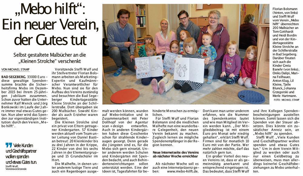 MEBO hilft, Segeberger Zeitung, 17.02.2018